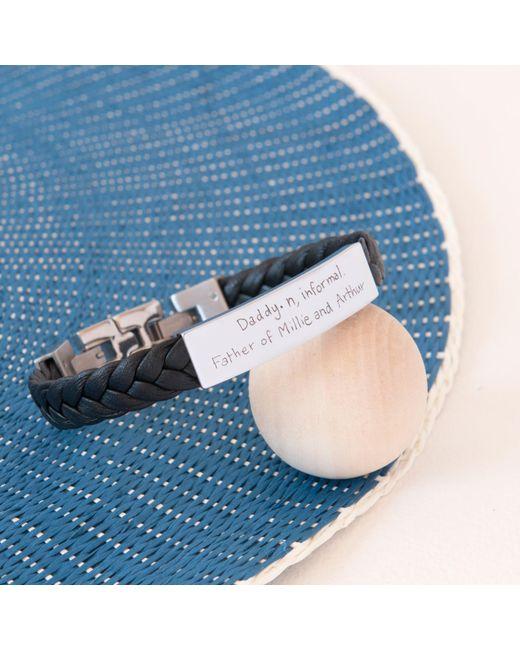 Merci Maman | Black Men's Personalised Leather Braided Bracelet for Men | Lyst