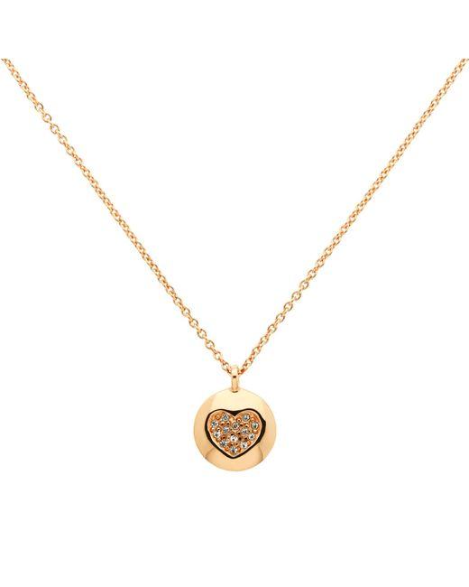 Melissa Odabash   Metallic Rose Gold Plated Swarovski Crystal Heart Disc Pendant   Lyst