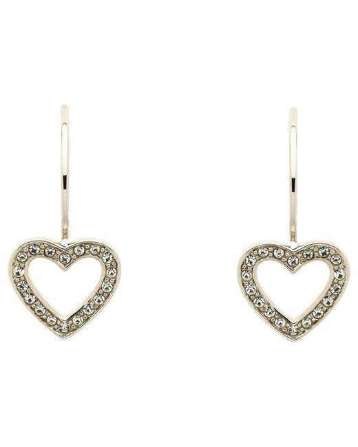 Melissa Odabash   Metallic Swarovski Crystal Hook Heart Drop Earrings   Lyst