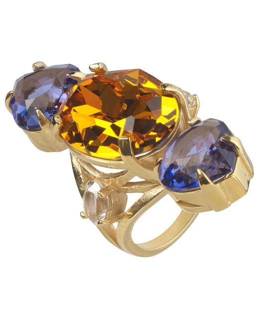Cabinet | Metallic Gold Plated Swarovski Crystal Erinus Ring | Lyst