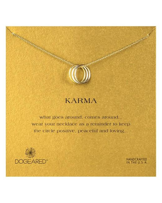 Dogeared | Metallic Mixed Metal Triple Karma Ring Pendant Necklace | Lyst