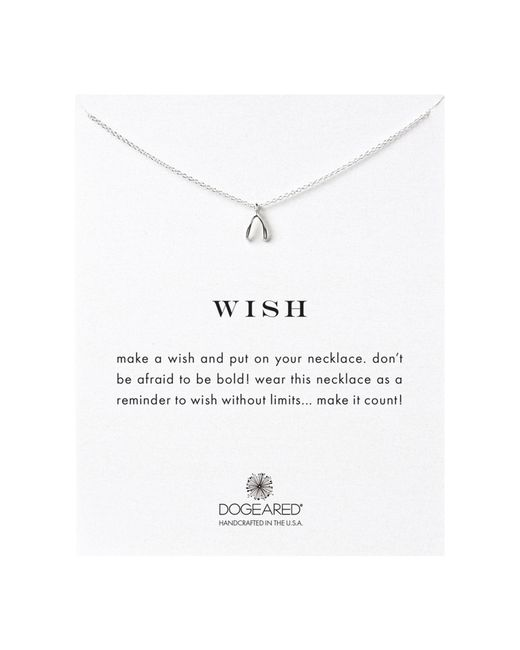 Dogeared | Metallic Sterling Silver Wish Teeny Wishbone Reminder Reminder Necklace | Lyst
