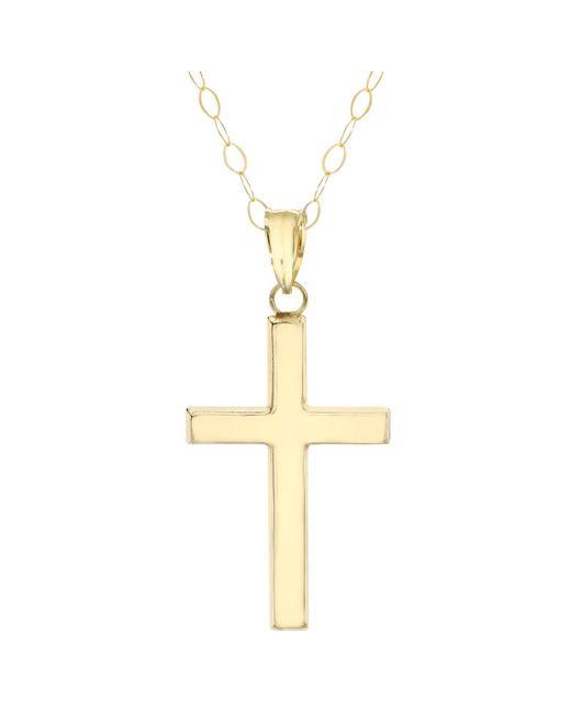 Ib&b | Metallic 9ct Yellow Gold Cross Pendant Necklace | Lyst