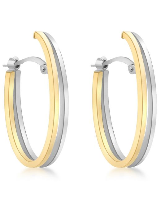 Ib&b | Metallic 9ct Gold Two Tone Double Oval Huggy Earrings | Lyst