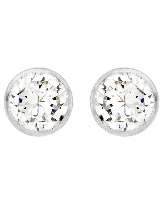 Ib&b   Metallic 9ct White Gold Round Cubic Zirconia Stud Earrings   Lyst