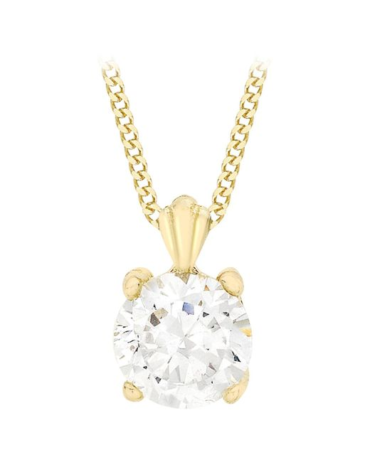 Ib&b | 9ct Yellow Gold Cubic Zirconia Pendant Necklace | Lyst