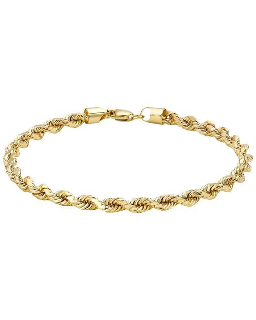 Ib&b | Metallic 9ct Yellow Gold Hollow Diamond-cut Rope Bracelet | Lyst