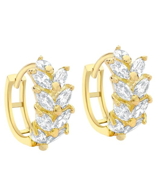 Ib&b | Metallic 9ct Yellow Gold Leaf Cluster Huggy Hoop Earrings | Lyst