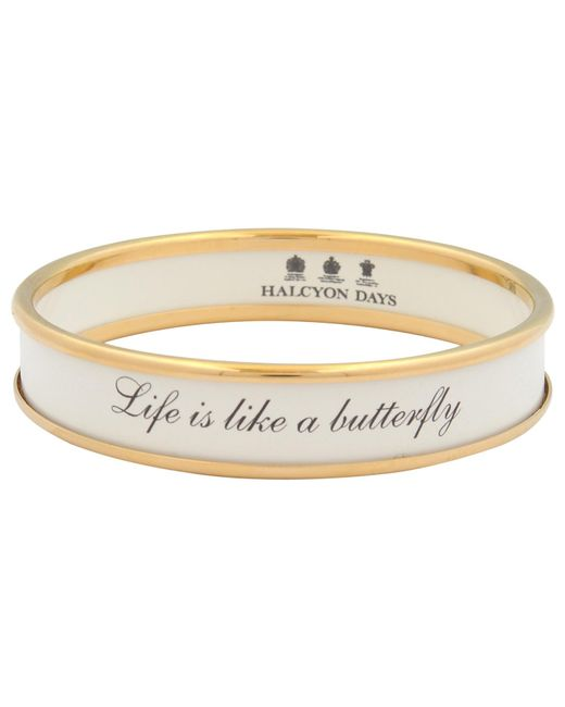 Halcyon Days | White Life Is Like A Butterfly Enamel Bangle | Lyst