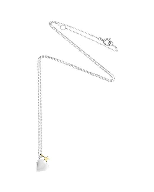 Estella Bartlett | Metallic Fine Sterling Silver Heart And Star Neckalce | Lyst