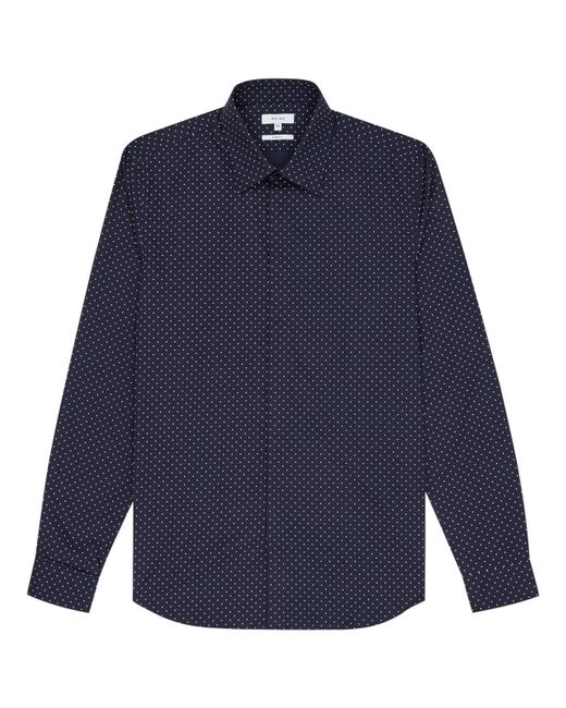Reiss | Blue Jenas Polka Dot Slim Fit Shirt for Men | Lyst