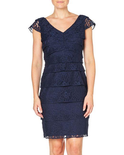 Adrianna Papell | Blue Shutter Tuck Lace Sheath Dress | Lyst