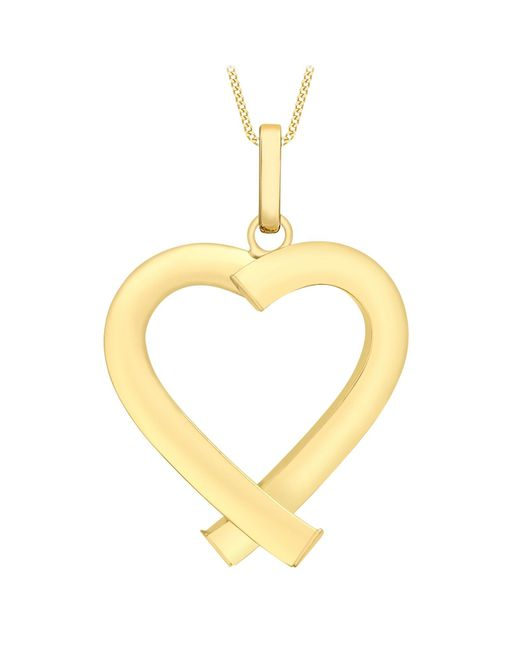Ib&b | Metallic 9ct Yellow Gold Triangular Tube Heart Pendant | Lyst