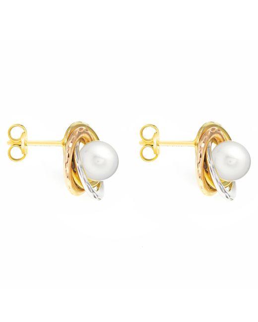 John Lewis - Multicolor Ibb 9ct Gold Triple Tone Pearl Swirl Stud Earrings - Lyst