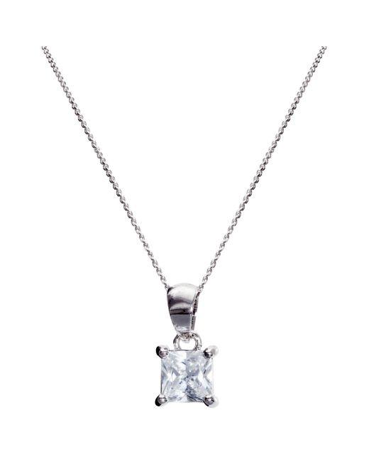 Ivory & Co. - Metallic Princess Solitaire Cubic Zirconia Pendant Necklace - Lyst