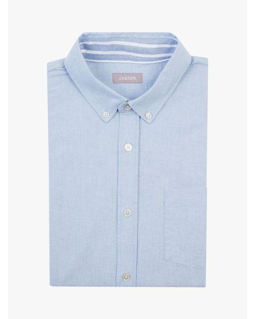 Jaeger Blue Cotton Oxford Shirt for men