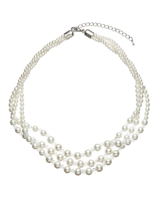 John Lewis - White Three Row Graduating Faux Pearl And Bead Twist Necklace - Lyst