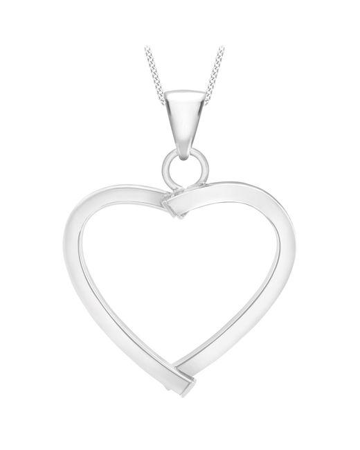 Ib&b   9ct White Gold Mini Square Tube Heart Pendant   Lyst