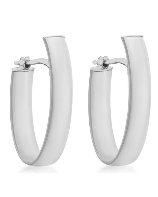 Ib&b - Metallic 9ct White Gold Polished Huggy Hoop Earrings - Lyst
