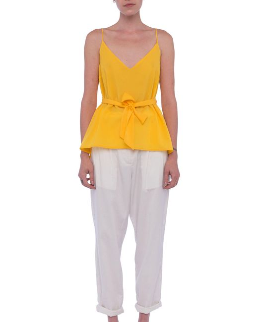 French Connection - Yellow Dalma Crepe Light Top - Lyst
