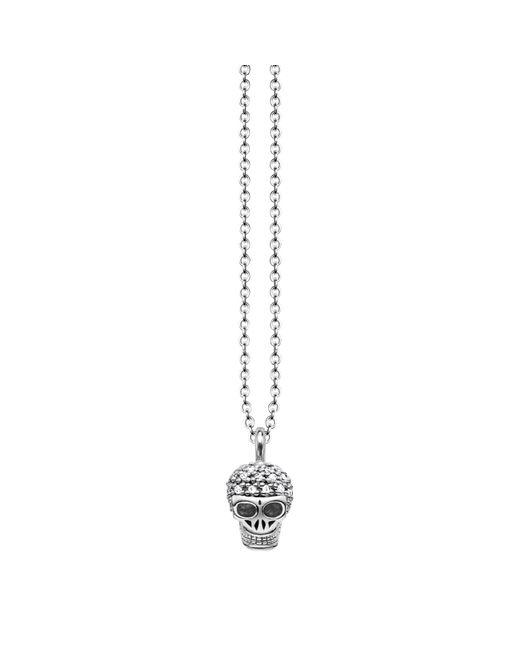 Thomas Sabo | Metallic Rebel Diamonds Sterling Silver Skull Necklace | Lyst