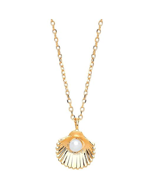 Estella Bartlett | Metallic Shell Freshwater Pearl Pendant Necklace | Lyst