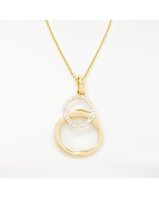 Modern Rarity - Metallic Diamond Linked Hoop Pendant Necklace - Lyst