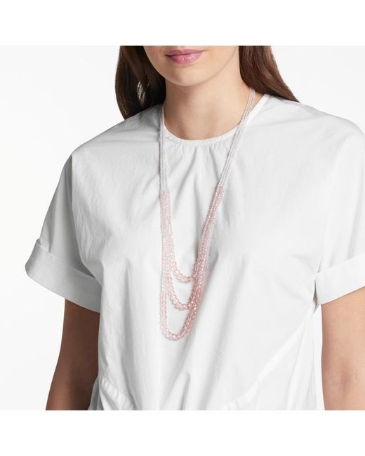 John Lewis | Pink Glass Crystal Long Layered Necklace | Lyst