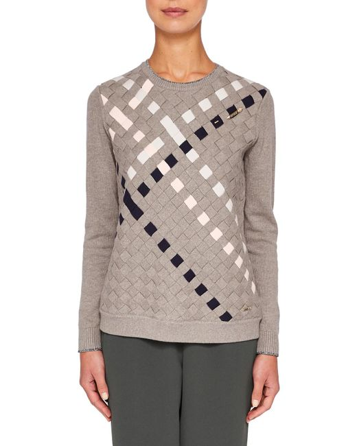 Ted Baker | Gray Colour By Numbers Yessica Woven Front Cotton Jumper | Lyst