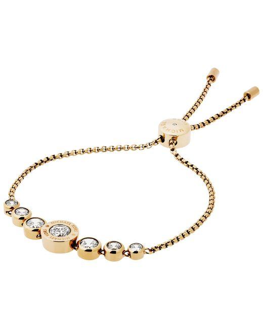 Michael Kors | Metallic Logo Crystal Adjustable Bracelet | Lyst