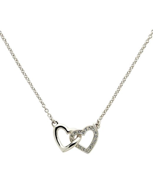 Melissa Odabash   Metallic Rhodium Plated Swarovski Crystal Double Heart Necklace   Lyst