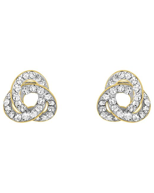 Ib&b - Metallic 9ct Yellow Gold Crystalique Knot Stud Earrings - Lyst