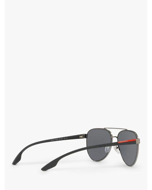 485a0a9948aed ... Prada - Gray Linea Rossa Ps 54ts Men s Polarised Aviator Sunglasses for  Men ...