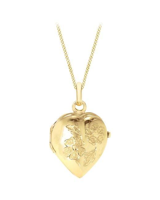 Ib&b | Metallic 9ct Yellow Gold Heart Daisy Locket Curb Chain Necklace | Lyst