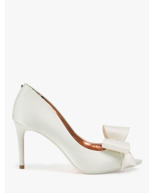 e96ab1981 Ted Baker Nualas Bow Heel Court Shoes in White - Save 20% - Lyst