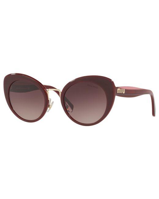 1e5b3259b1 Miu Miu Mu 06ts Women s Cat s Eye Sunglasses in Brown - Lyst