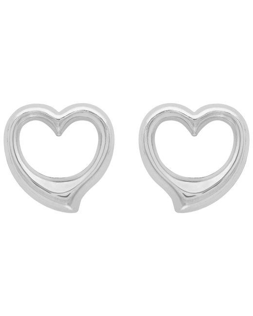 Ib&b | 9ct White Gold Heart Stud Earrings | Lyst