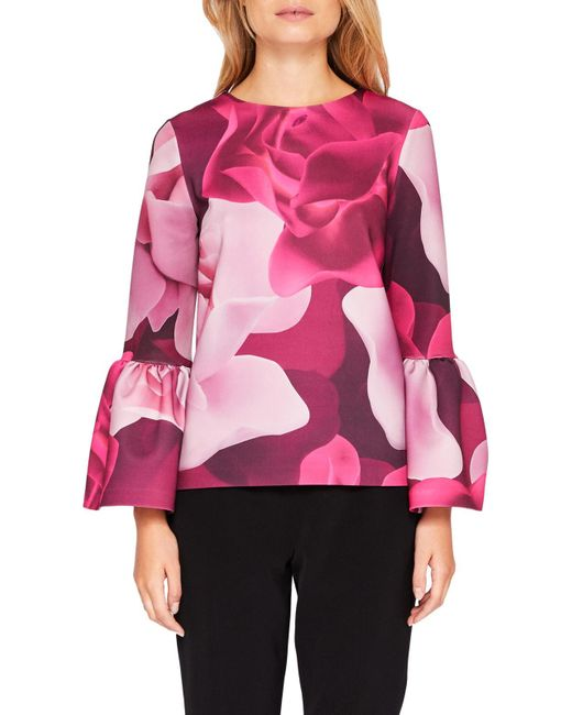 Ted Baker | Pink Toepal Porcelain Rose Bell Sleeve Top | Lyst