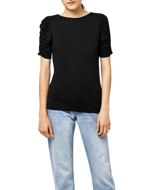 Warehouse | Black Ruched Sleeve Top | Lyst