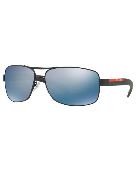 83bbc3051b Prada - Blue Linea Rossa Ps 54is Polarised Rectangular Sunglasses for Men -  Lyst ...