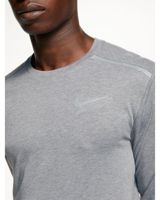 b93d2ca30 ... Nike - Gray Breathe Rise 365 Long Sleeve Running Top for Men - Lyst ...
