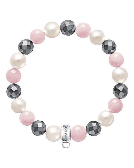 Thomas Sabo - Gray Charm Club Freshwater Pearl And Quartz Bracelet - Lyst