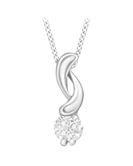 Ib&b | Metallic 9ct White Gold Cubic Zirconia Swirl Pendant Necklace | Lyst