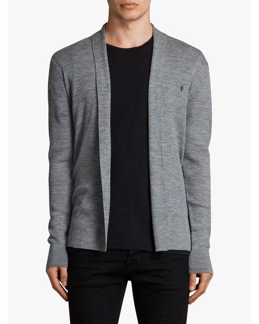 AllSaints - Gray Mode Merino Cardigan for Men - Lyst