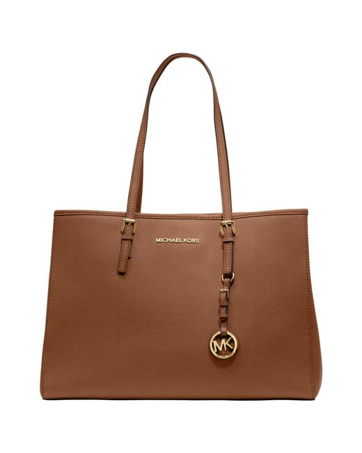 MICHAEL Michael Kors | Brown Jet Set East/west Large Leather Tote Bag | Lyst