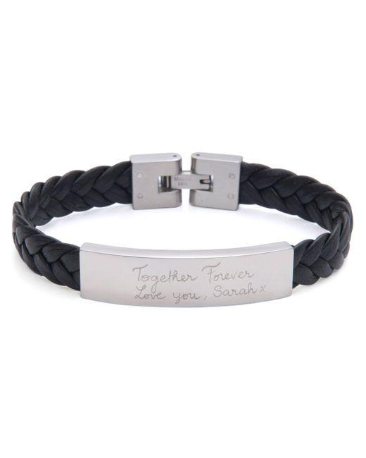 Merci Maman - Black Men's Personalised Leather Braided Bracelet - Lyst