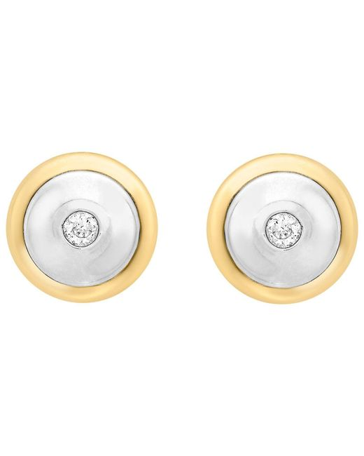 Ib&b - Metallic 9ct Gold Cubic Zirconia Disc Stud Earrings - Lyst