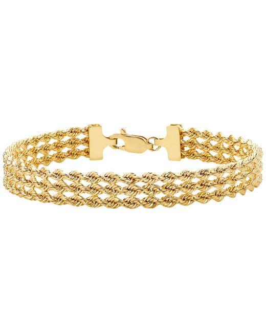 Ib&b - Metallic 9ct Gold Hollow 3 Strand Rope Bracelet - Lyst