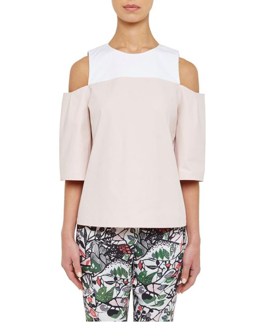 Ted Baker | Pink Colour By Numbers Divna Cut Out Cold Shoulder Top | Lyst