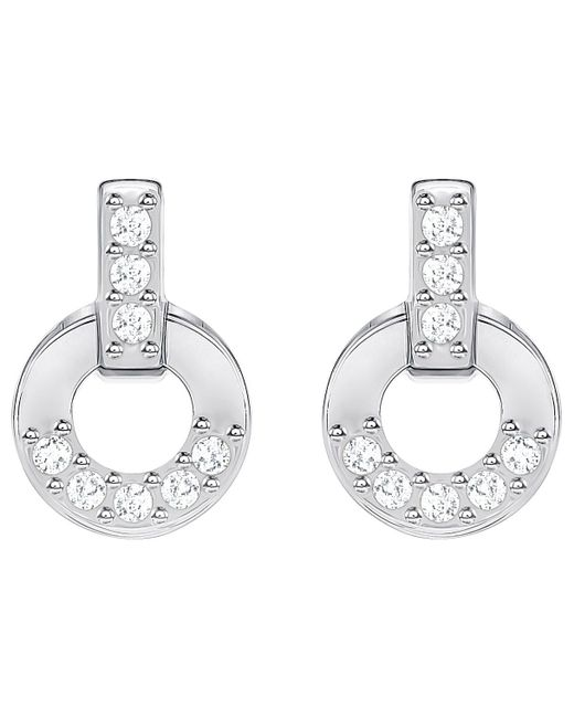 Swarovski   Metallic Circle Stud Pierced Earrings   Lyst